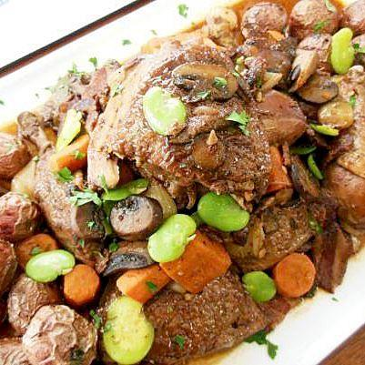 Slow Cooked Coq au Vin with Fava Beans and Potatoes