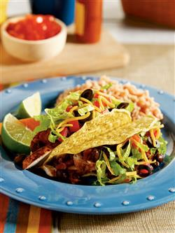 Chicken and Spicy Black Bean Tacos  Recipe from the Crock-Pot® 5 ingredients or less cookbook. Item # 2275100
