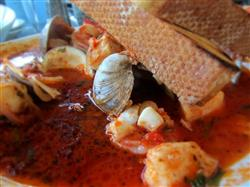 Warm and savory, this Cioppino stew is served great with bread.