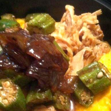 Voodoo Pulled Pork Over Roasted Sweet Potatoes and Okra