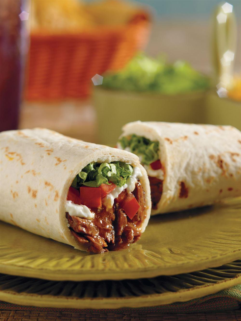 Super-Easy Beef Burritos Recipe from the Crock-Pot® 5 ingredients or less cookbook. Item # 2275100